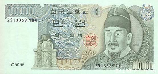 世界各国货币图片:韩国元