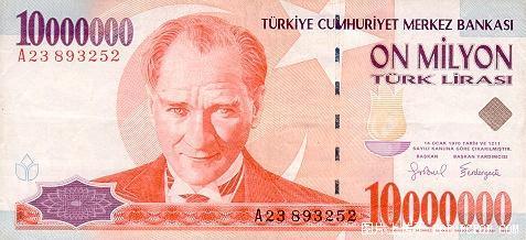 世界各国货币图片:土耳其里拉